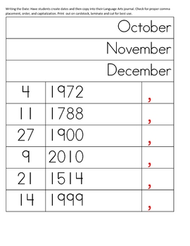 Writing the Date: Montessori Comma & Capitalization Practice