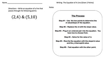 Writing the Equation of a Line Given 2 Points -Google Form, Video Lesson & Notes