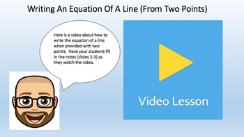 Writing the Equation of a Line Given 2 Points (Task Cards, Video Lesson & Notes!