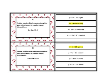 Writing the Equation of a Line Given Two (2) Points Create a Riddle Task Cards