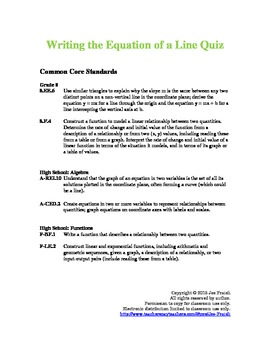 Writing the Equation of a Line Quiz