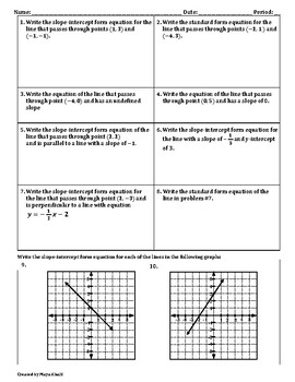 Writing the Equation of a Line Worksheet II