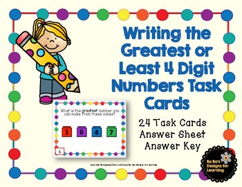 Writing the Greatest or Least 4 Digit Numbers Task Cards