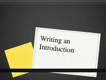 Writing the Introduction to the Paper PPT