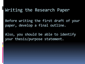 Writing the Research Paper