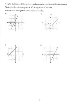 Writing the Slope-intercept form of the Equation from Graphs Practice/Review