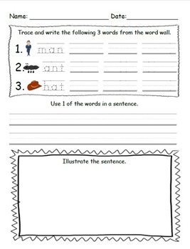 Writing the Word Wall (Writing Sentences with Simple Decodable Words)