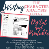 Writing the character analysis essay complete unit bundle- Digital and Printable