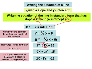 Writing the equation of a line. PowerPoint