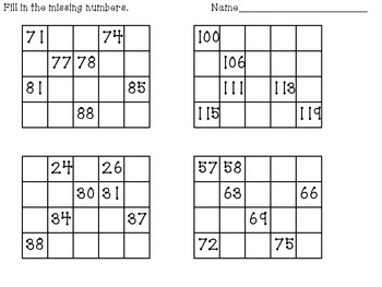 Writing to 120 Number Grid Puzzles