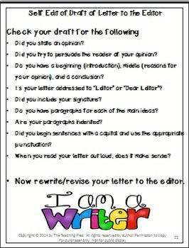 Writing to Inform II Letters to the Editor, Persuasion, Instructions, Directions