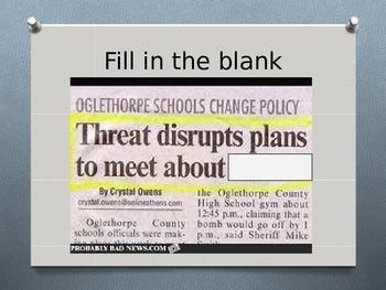 Writing to Inform - Newspaper Headlines