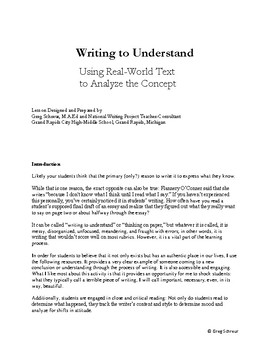 Writing to Understand Lesson