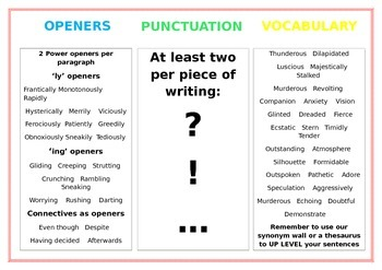Writing uplevelling mats - description and wow words