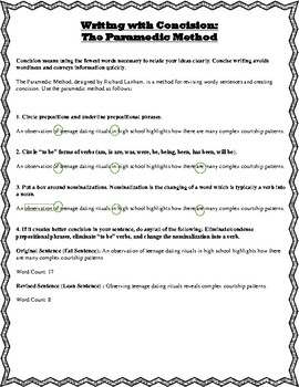 Writing with Concision - Mini-Lesson and Revision Activity