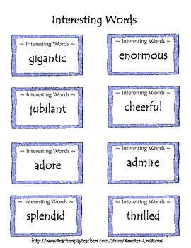 Writing with Interesting Words for Writing Centers