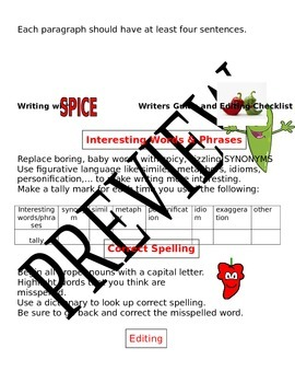 Writing with SPICE Writer's Guide and Editing Checklist