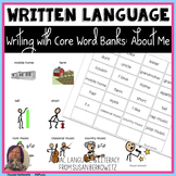 Writing with Word Banks About Me Topic Words for Emergent Writers and AAC Users