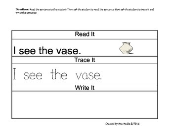 Writing with Words that Begin with the Letter Vv