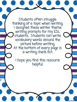 Writing with picture prompts - Winter Theme