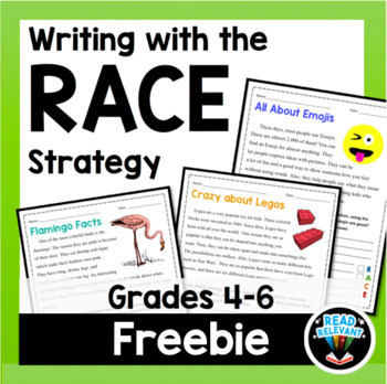RACE Strategy Writing Worksheet Activity Grades 4-6 FREE | Distance Learning