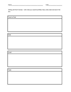 Writing with the Senses Template