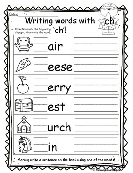 Writing words BUNDLE blends and digraphs