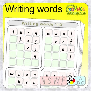 Writing words NSWF (50 Literacy sheets)