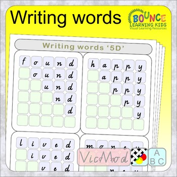Writing words Vic Mod Cur (50 distance learning worksheets for Literacy)