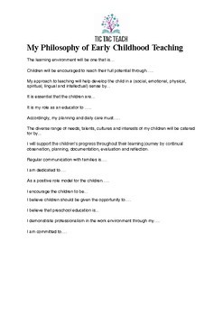 Writing Your Philosophy Of Early Childhood Education By Tic Tac Teach