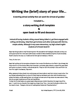 Writing your life story (intro / start of school activity)