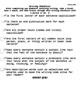 Grammar/Writing Checklist