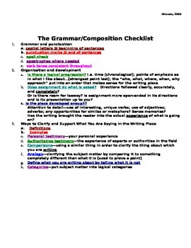 Writing/Grammar Checklist--grades 5 and up