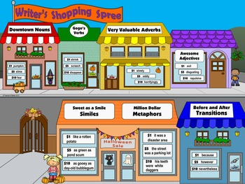 "Halloween Writing & Parts of Speech Activity: ""Writer's Shopping Spree"""