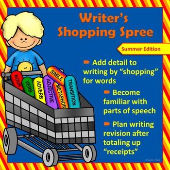 Writing & Parts of Speech Activity:Writer's Shopping Spree