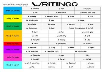 Writingo - writing bingo