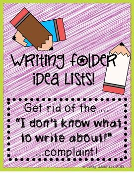 Writng Folder Idea Lists