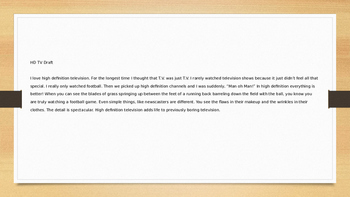 Writing Mini-Lessons: HD-TV - Writing Minilesson and prompt activity