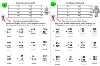 Written Addition - Differentiated Worksheets and Partner Games - Grade 2 or 3.