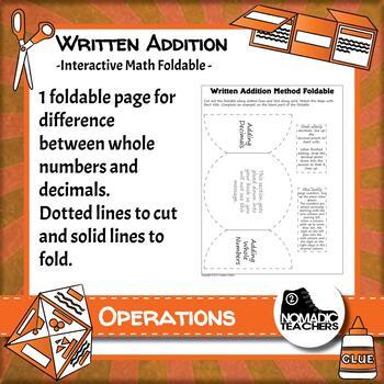 Written Addition Method interactive notebook math foldable