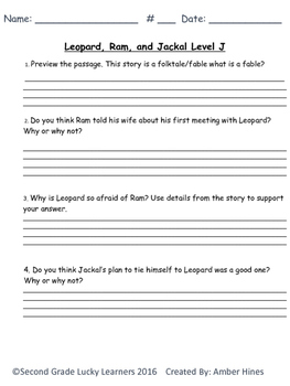 Written Comprehension Level J Bundle