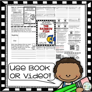 Written Comprehension - The Rainbow Fish with QR code mClass TRC Questions