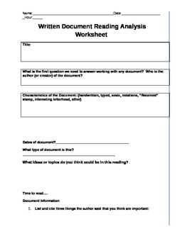 Common Core Written Document Reading Analysis Worksheet