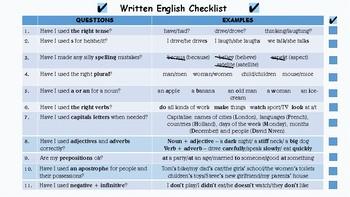 Written English Checklist