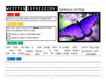 Written Expression: Sentence Writing
