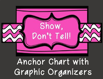 Written Expression Show Don't Tell Anchor Chart with Graphic Organizers
