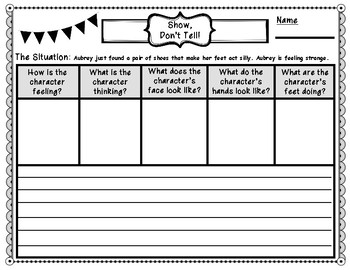 Written Expression Show, Don't Tell Graphic Organizers
