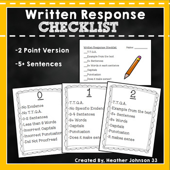 Written Response Checklist and Wall Rubric Posters