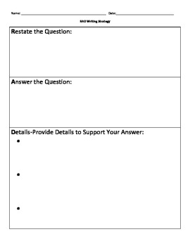 Written Response Graphic Organizer
