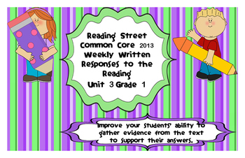 Written Response Organizers & Tests aligned to Reading Street Gr.1-Unit 3